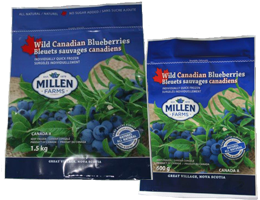 Millen Farms' Blueberries 600 and 1.5 kg Bags